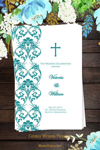 Catholic Church Wedding Program Damask Teal