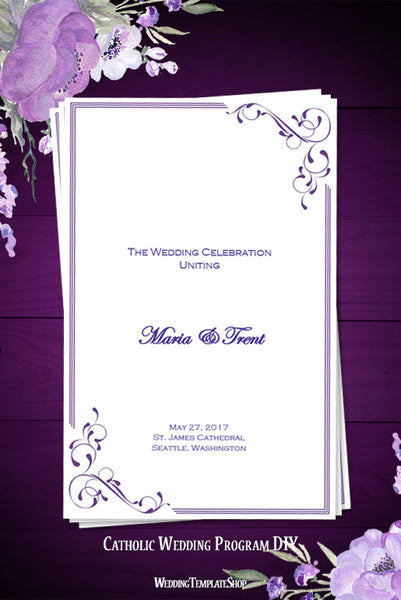 Catholic Church Wedding Program Elegance Regency Purple