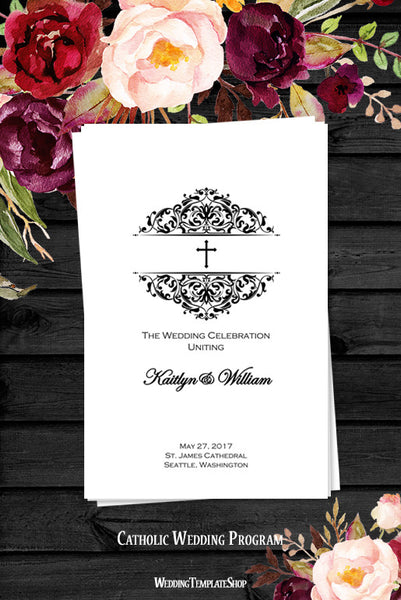 Catholic Church Wedding Program Grace Black White