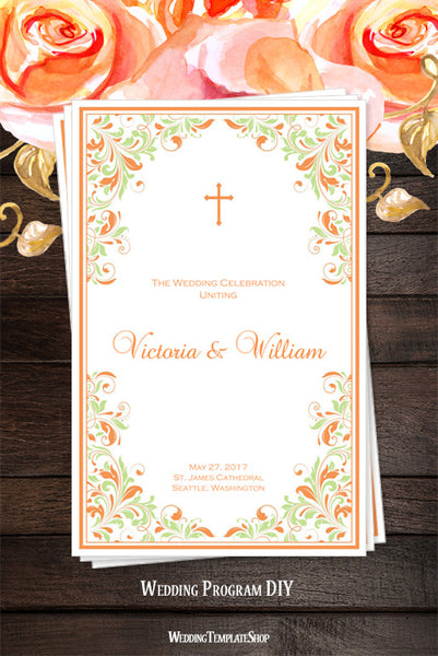 Catholic Church Wedding Program Kaitlyn Peach Mint Green