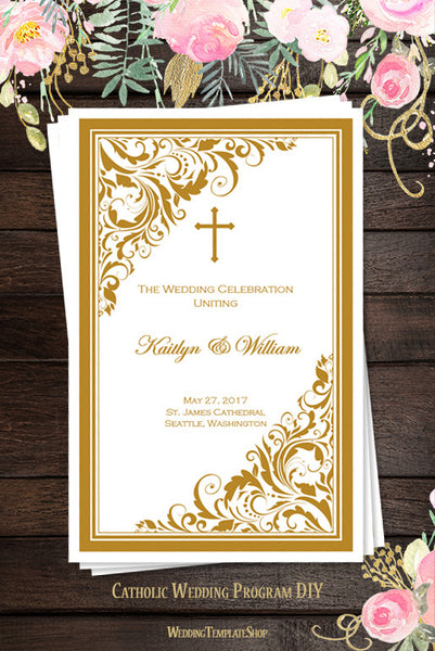 Catholic Church Wedding Program Brooklyn Gold
