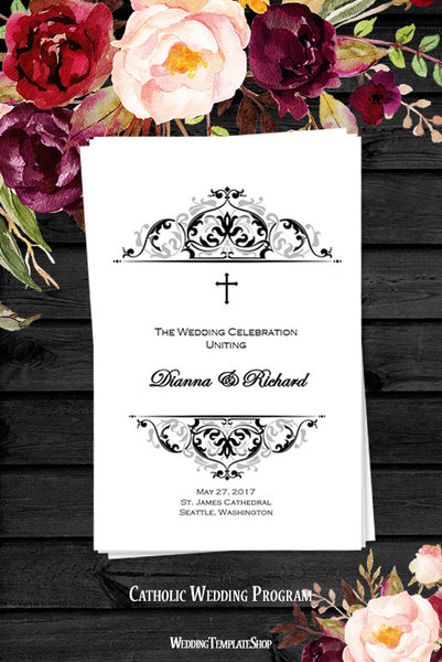 Catholic Church Wedding Program Grace Black Silver