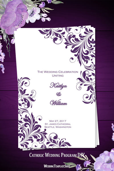 Catholic Church Wedding Program Kaitlyn Purple