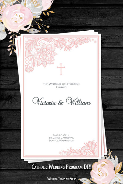 Catholic Church Wedding Program Vintage Lace Blush Pink