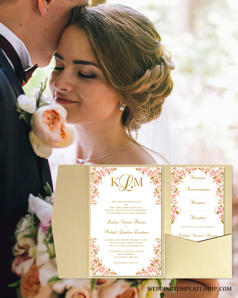 Coral Gold Wedding Invitations Printable DIY Templates