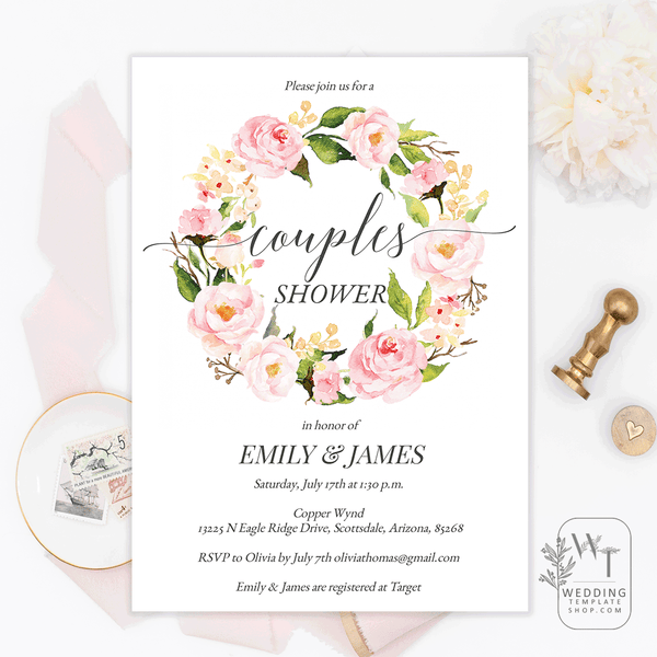 Couples Wedding Shower Invitations Blush Floral Wreath Edit Online, DIY You Print