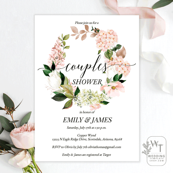 Couples Wedding Shower Invitations Hydrangea Rose Gold Edit Online, DIY You Print