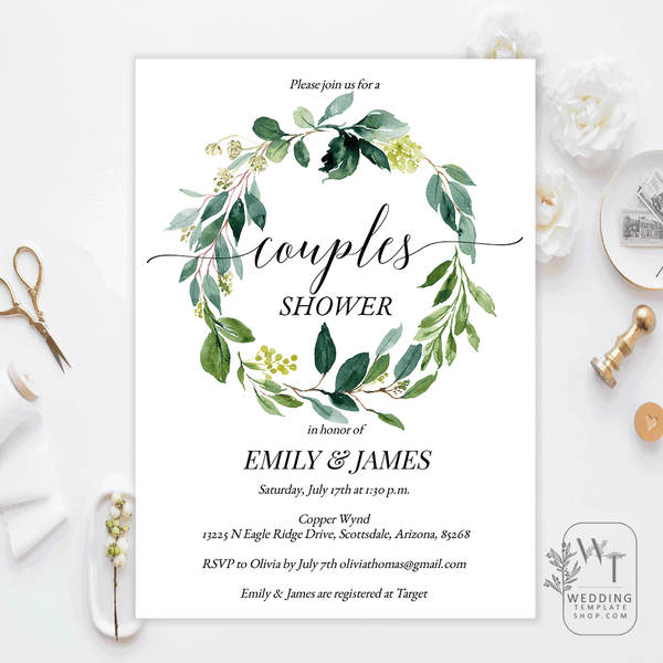 Couples Wedding Shower Invitations Greenery Wreath Edit Online, DIY You Print