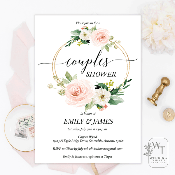Couples Wedding Shower Invitations Blush Florals Edit Online, DIY You Print
