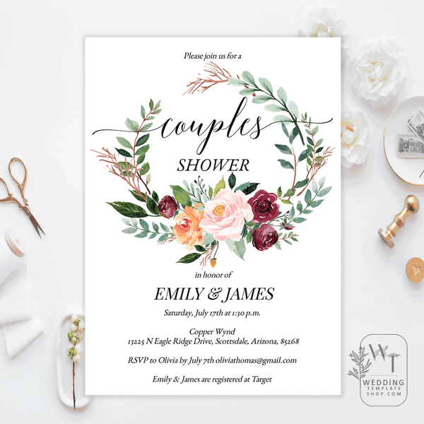 Couples Wedding Shower Invitations Fall Autumn Wreath Edit Online, DIY You Print