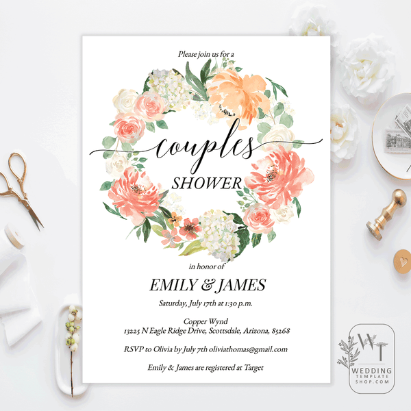 Couples Wedding Shower Invitations Peach Blush Coral Edit Online