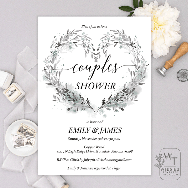 Couples Wedding Shower Invitations Winter Twig Heart Gray Teal Edit Online U Print