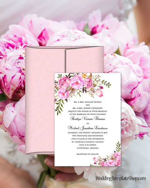 Diy Wedding Invitations Templates: Printable Wedding Invitation Romantic Blossoms Make Your