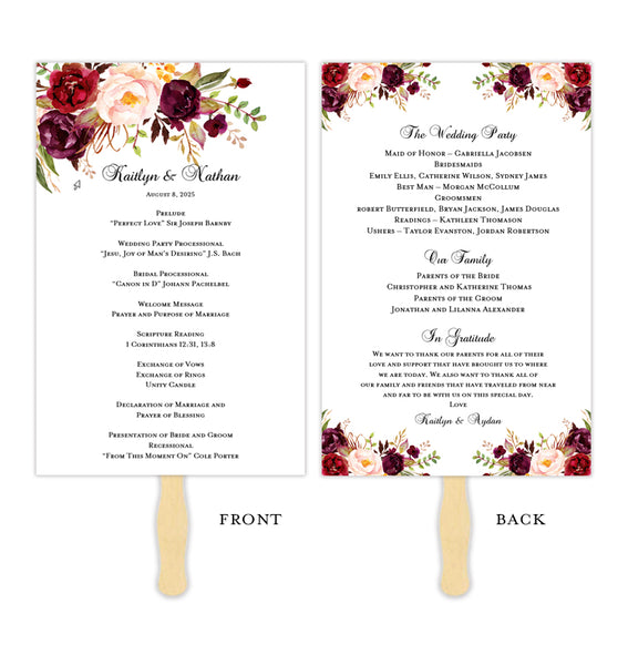 Wedding Program Fans Templates For Diy Ceremony Fan Tagged Romantic Blossoms Wedding Template Shop