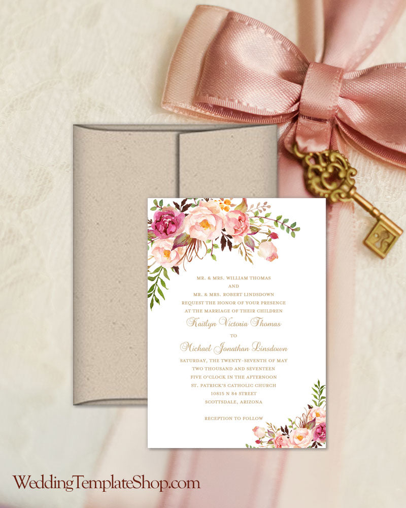 Printable Wedding Invitation Romantic Blossoms Make Your Own
