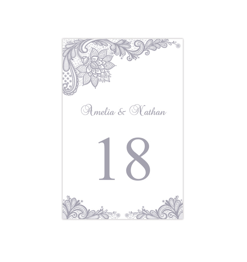 Wedding Table Number Template Vintage Lace Silver Gray Flat ...