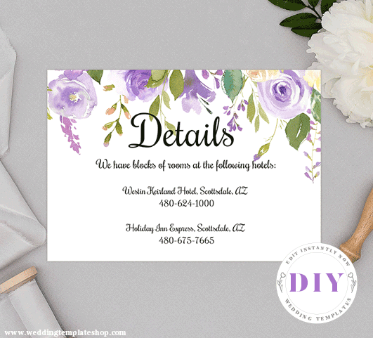 Wedding Details Insert Card Purple Florals Edit Online, Download, Print