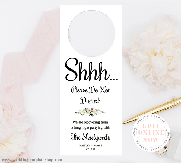 Do Not Disturb Wedding Signs Blush Florals Edit Online Now Download