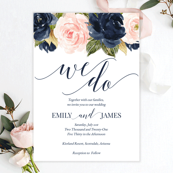 Wedding Invitation Template Navy Blush Florals Edit Online, Download, Print