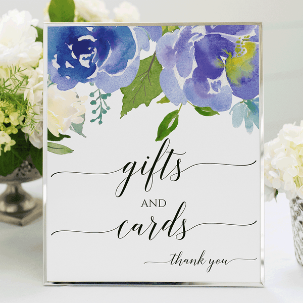 Wedding Sign Printable Gifts and Cards Serene Blue Purple Printable