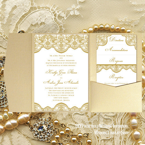 Pocket Fold Wedding Invitations Vintage Lace 2 Gold