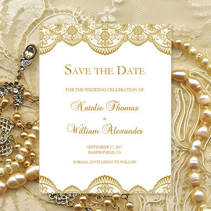 wedding save the date cards vintage lace gold template