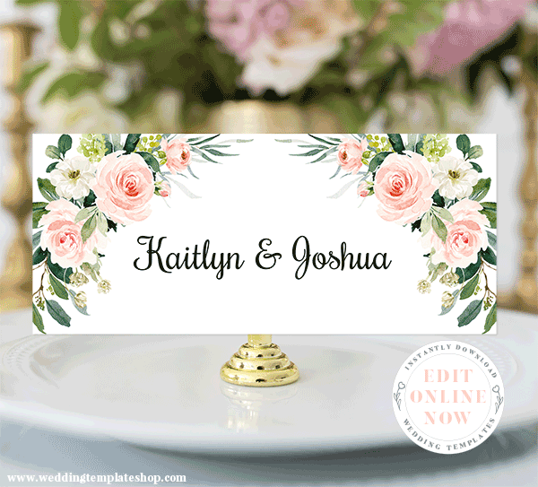 Head Table Sign for Bride and Groom, Blush Florals, Edit Online