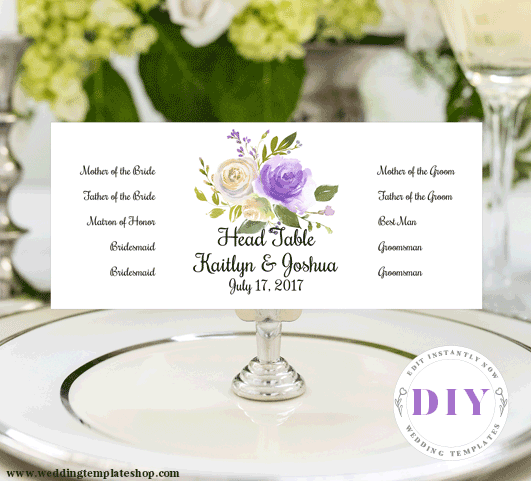 Head Table Wedding Sign Purple Florals Edit Online, Download and Print