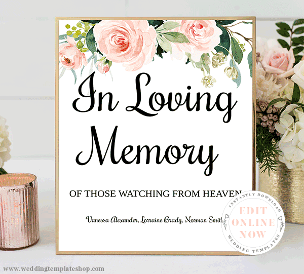 In Loving Memory Wedding Sign Blush Florals Edit Online, Download Now