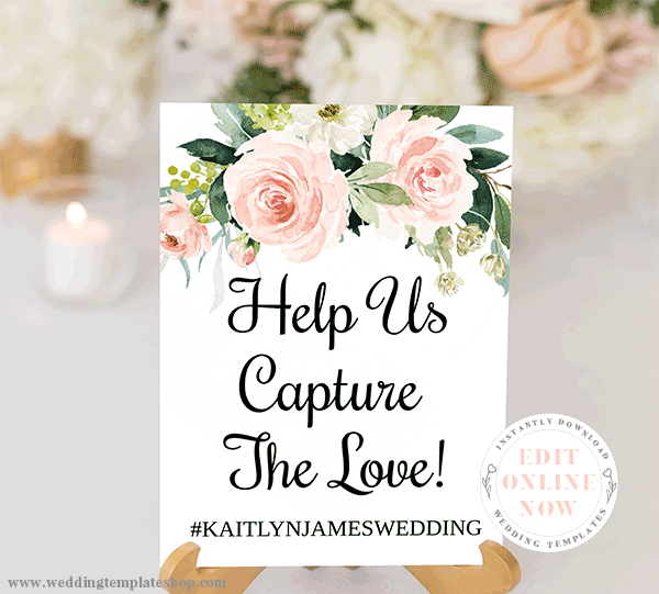 Instagram for Wedding Sign Blush Florals Edit Online, Download, Print