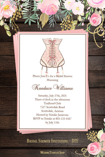 Lingerie Bridal Shower Invitation Pink DIY Templates
