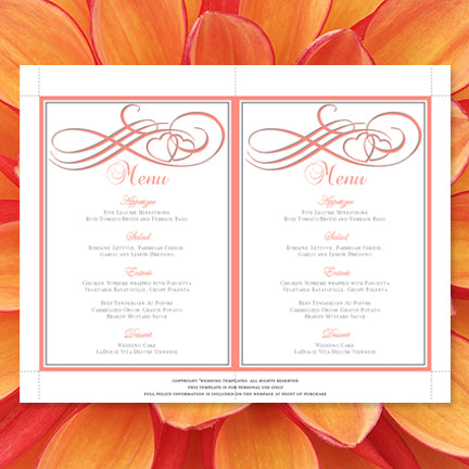 Wedding Reception Menu Template Two Hearts Become One Coral And Gray