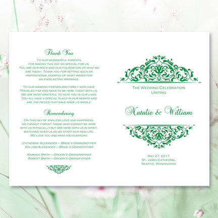 Wedding Program Template Grace Emerald Green