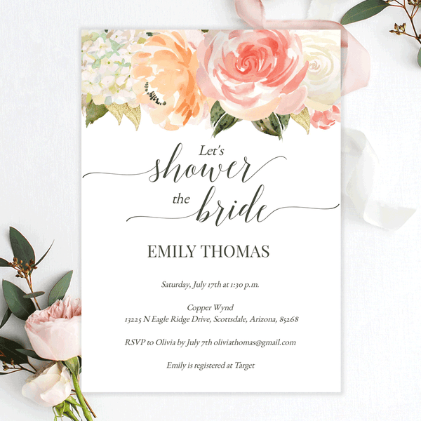 Bridal Shower Invitations Peach Blush Cream Florals Edit Online, Print