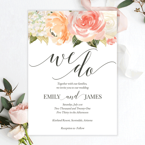 Peach Pink Cream Floral Wedding Invitation Template