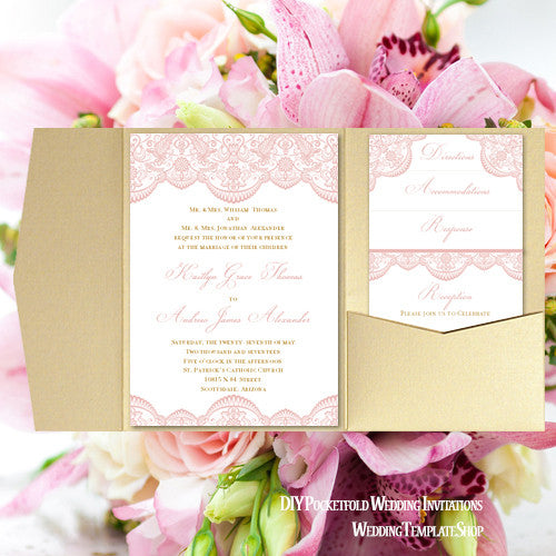 Pocket Fold Wedding Invitations Vintage Lace Blush Pink Gold