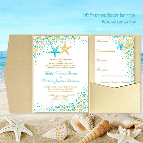 pocket fold wedding invitation beach confetti starfish blue 135 gold