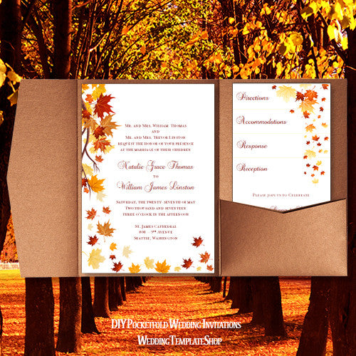 pocket fold wedding invitations falling leaves autumn red orange 5x7