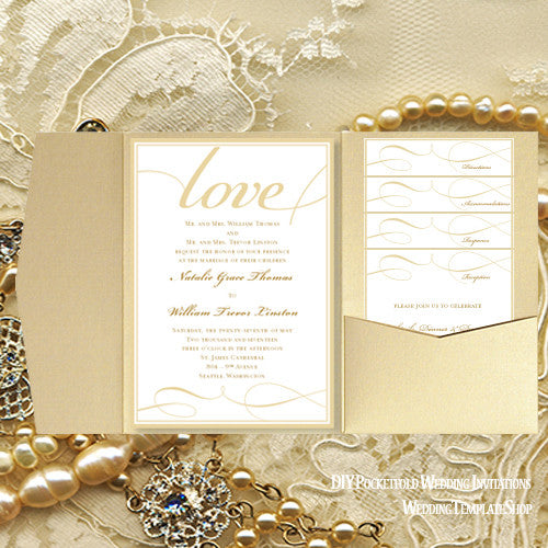 Pocket Fold Wedding Invitations Its Love Champagne Gold 5x7