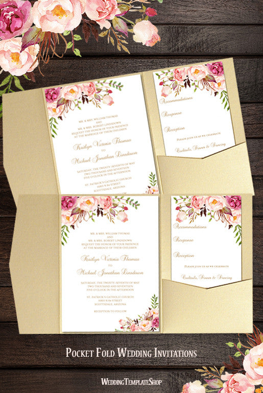 Pocket Invitation Template DIY Printable Wedding Wedding Template Shop