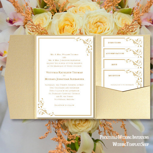 Wedding Invitation Folders With Pocket: Pocket Fold Wedding Invitations Elegance Gold 5x7
