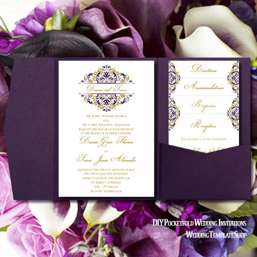 Pocket Fold Wedding Invitations Grace Majestic Royal Purple Gold 5x7