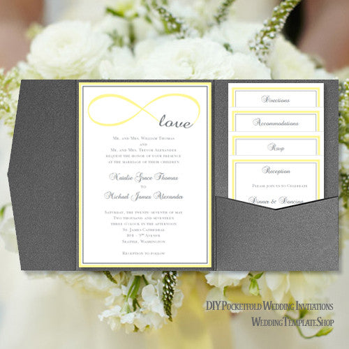 Pocket Fold Wedding Invitations Infinity Love Yellow Gray 5x7