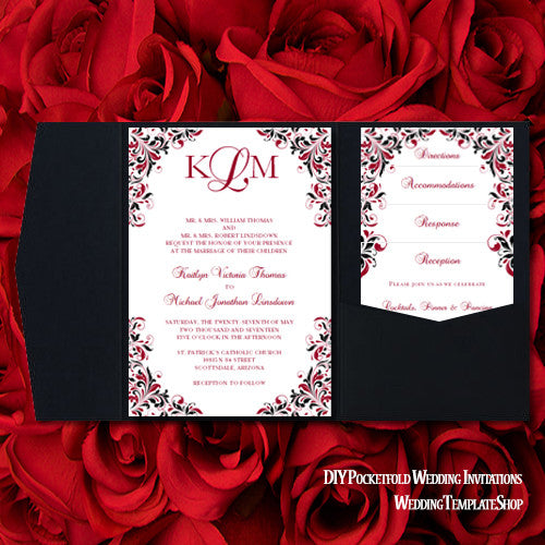 Pocket Fold Wedding Invitations Kaitlyn Apple Red Black