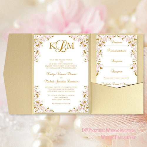 Pocket Fold Wedding Invitations Kaitlyn Blush Pink Gold 5x7