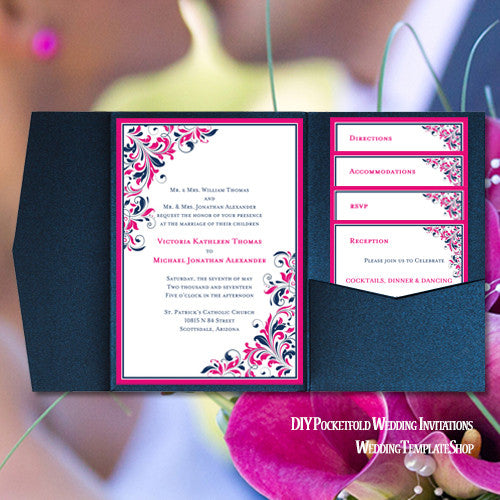 Pocket fold wedding invitations kaitlyn hot pink navy blue for Wedding invitations jacket pocket