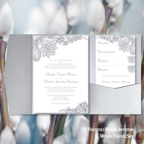 Pocket Fold Wedding Invitations Vintage Lace Silver Gray