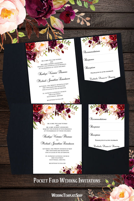 pocket fold wedding invitations romantic blossoms burgundy