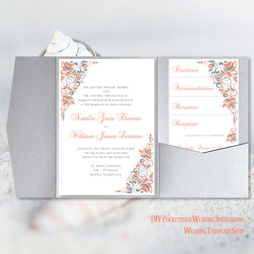 photo about Wedding Stationery Printable referred to as Pocket Fold Wedding ceremony Invites Gianna Coral Silver Grey 5x7