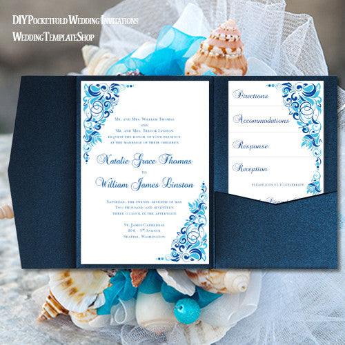 Pocket Fold Wedding Invitations Gianna Malibu Horizon Blue